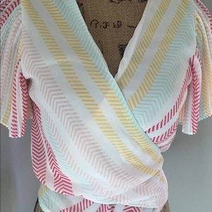 NY&C Striped Surplice Top